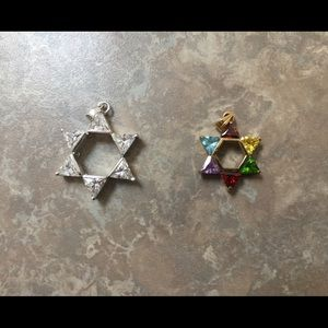 Jewelry - Set of 2 Sterling & Vermeil Star of David Pendants